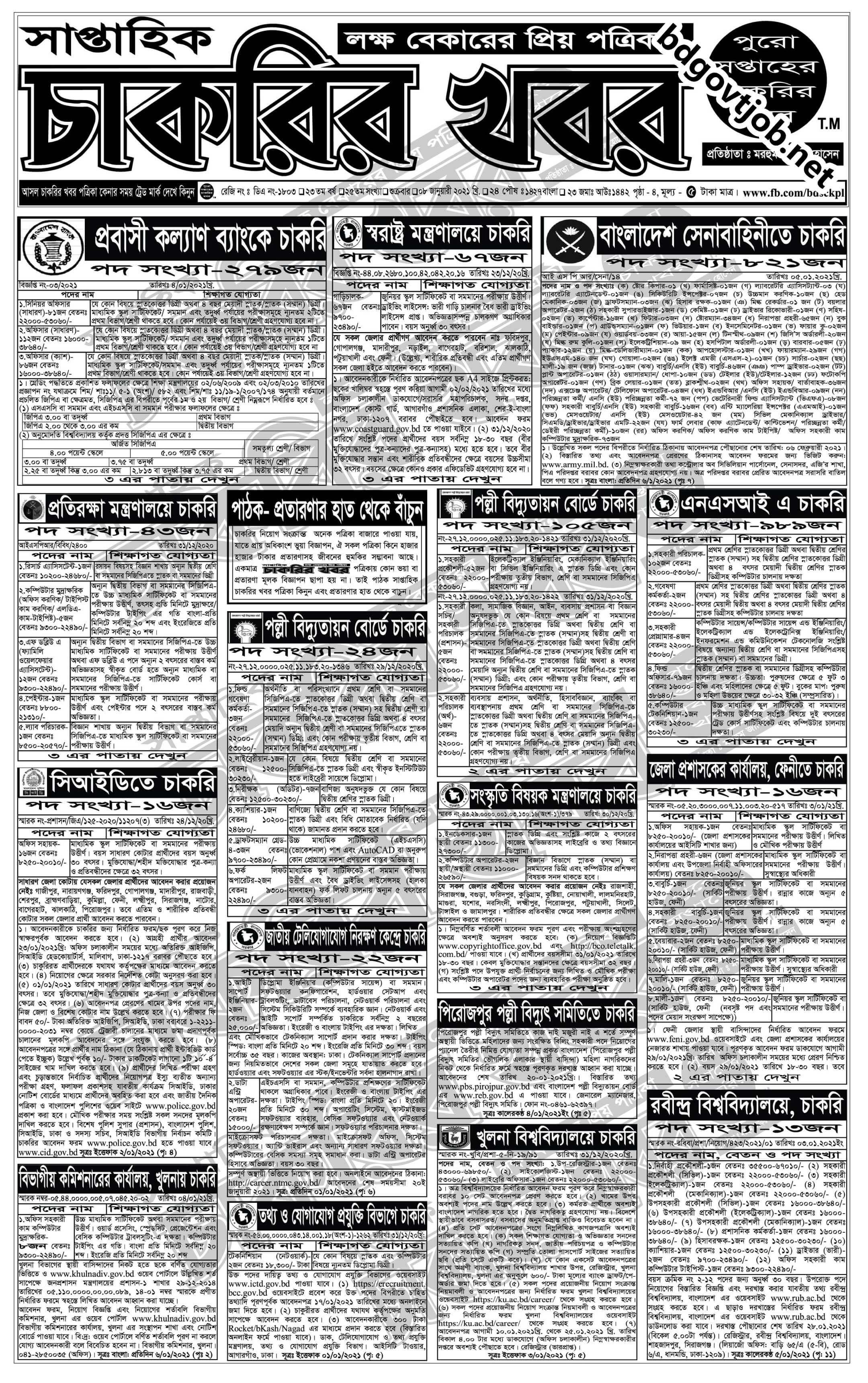 Saptahik Chakrir Khobor Potrika 22nd January 2021