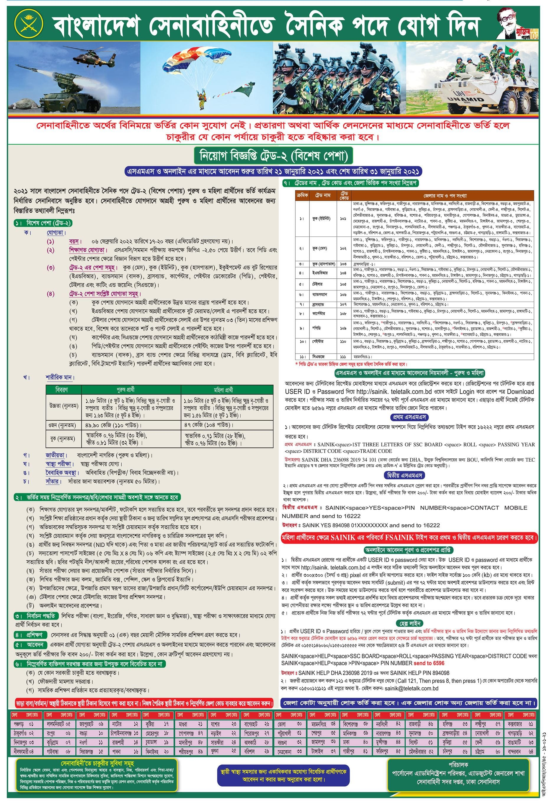 Bangladesh Army Sainik Job Circular 2021