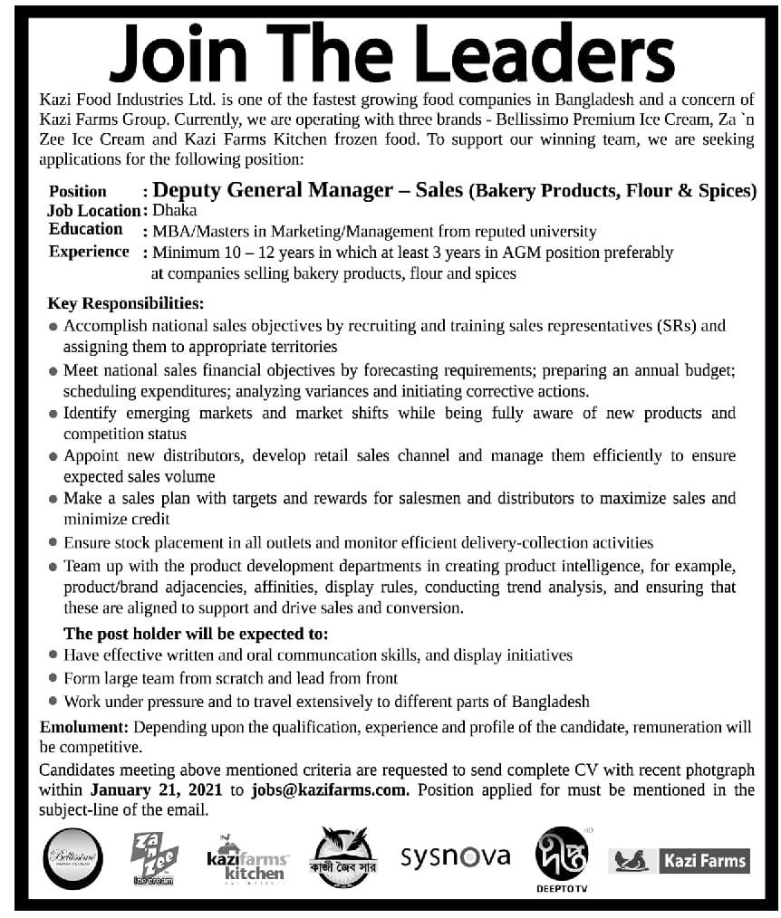 Kazi Food Industries Limited Job Circular 2021