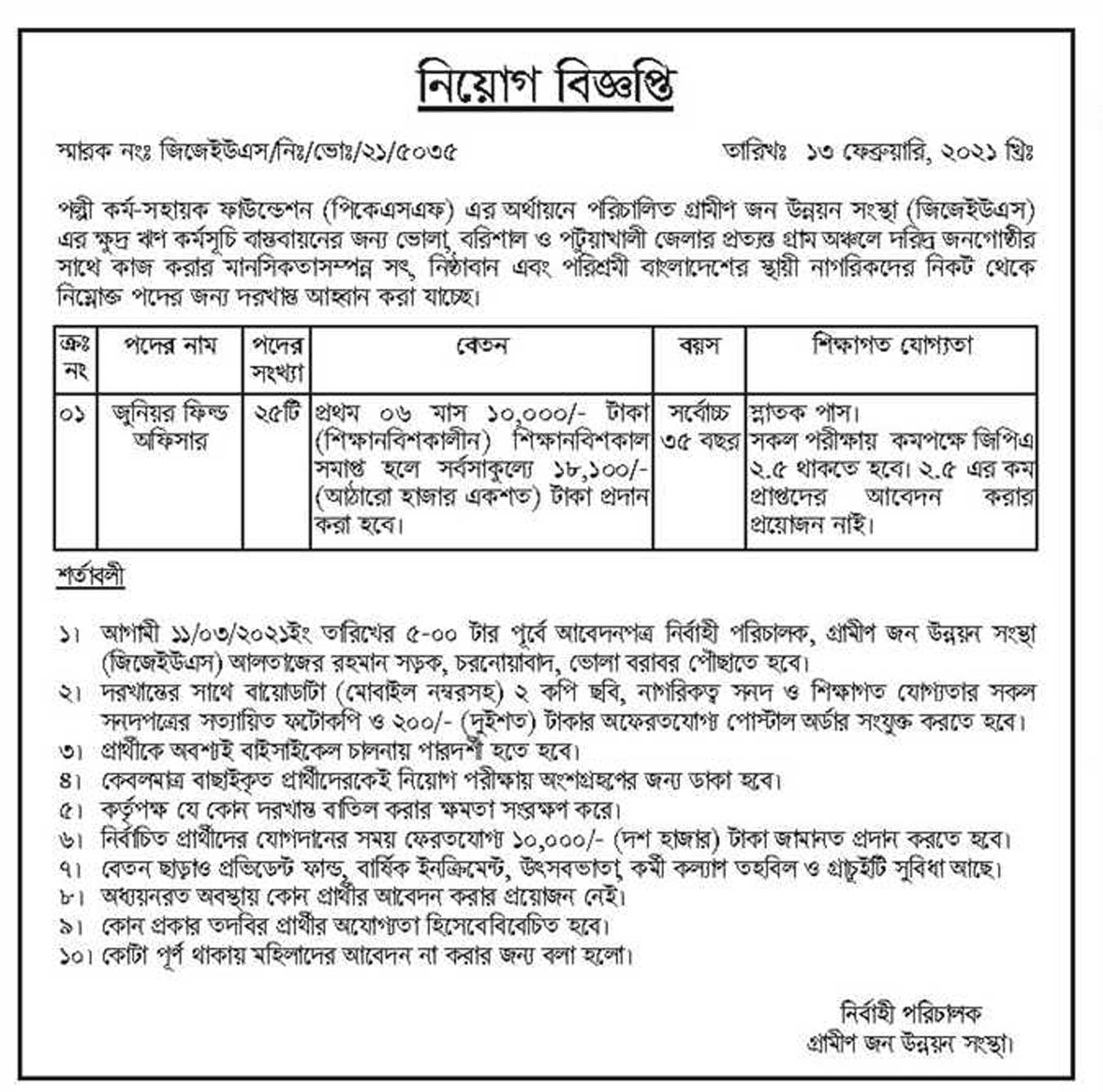Palli Karma Sahayak Foundation PKSF Job Circular 2021