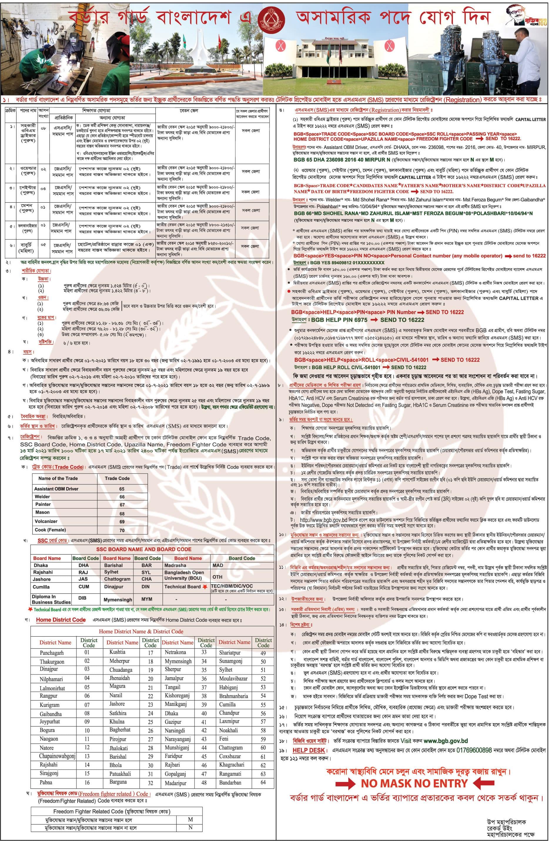 BGB Civilian Job Circular 2021
