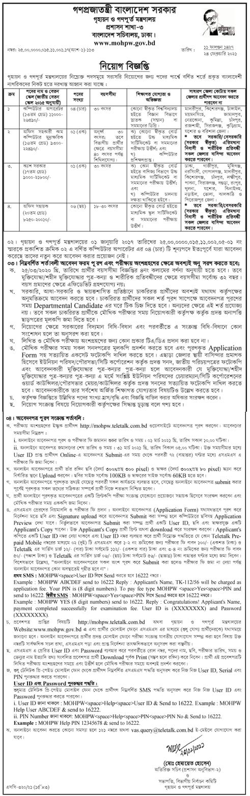 MOHPW Job Circular 2021