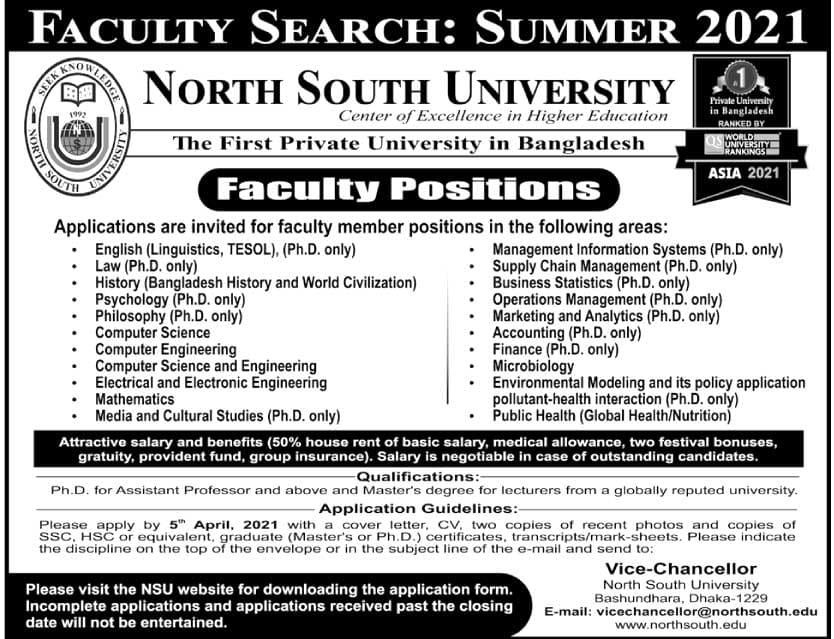 North South University NSU Job Circular