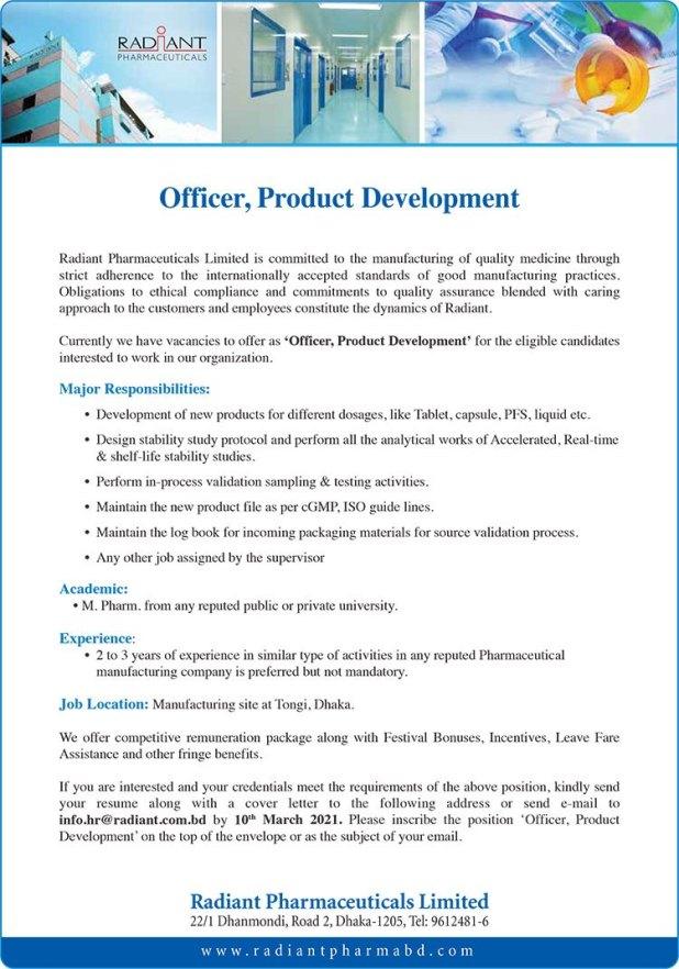 Radiant Pharmaceuticals Job Circular 2021