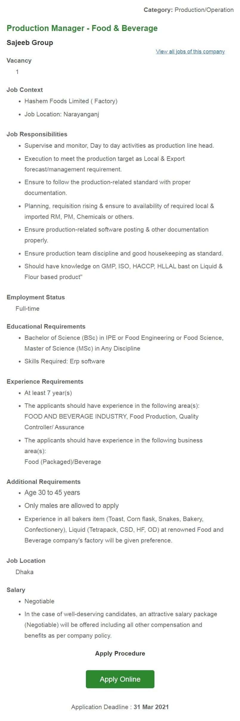 Sajeeb Group Job Circular