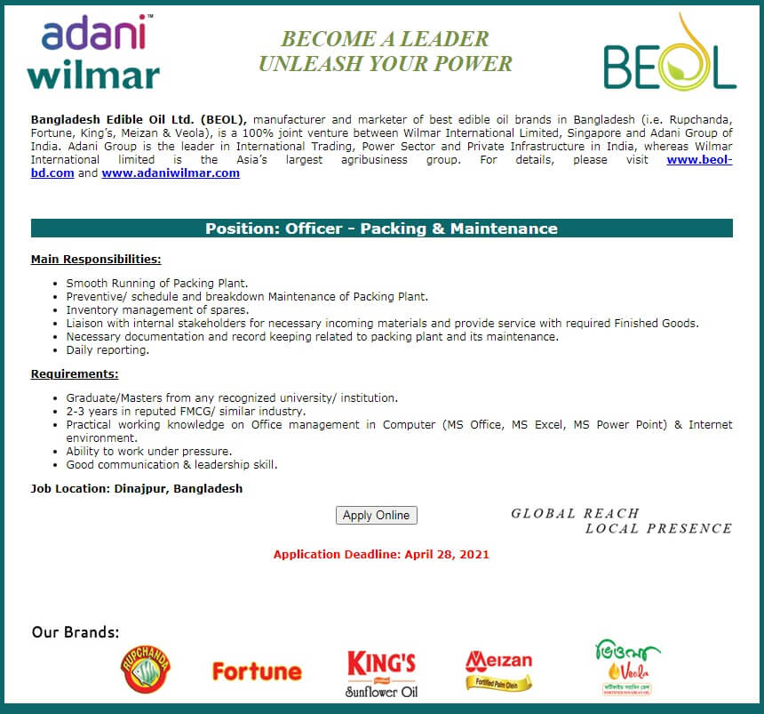Bangladesh Edible Oil Ltd Job Circular BEOL 2021