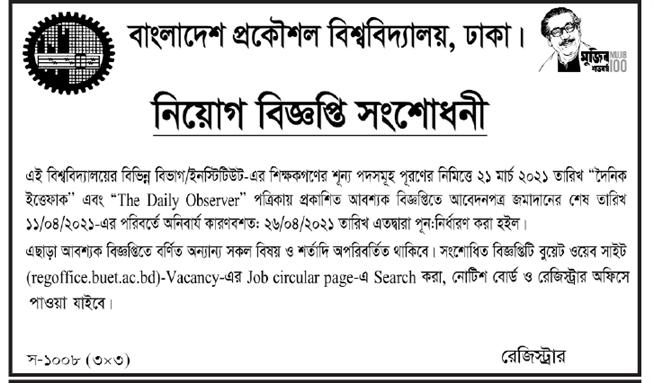 BUET Job Circular notice