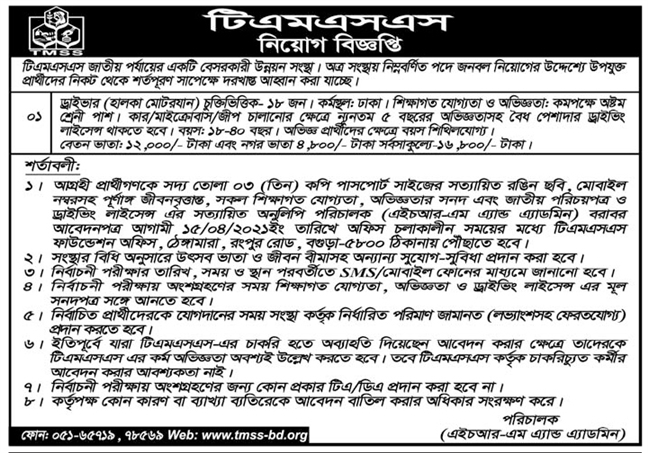 TMSS NGO Job Circular 2021