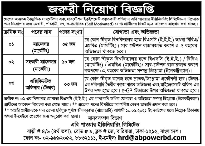 AB Power Engineering Limited Job Circular 2021