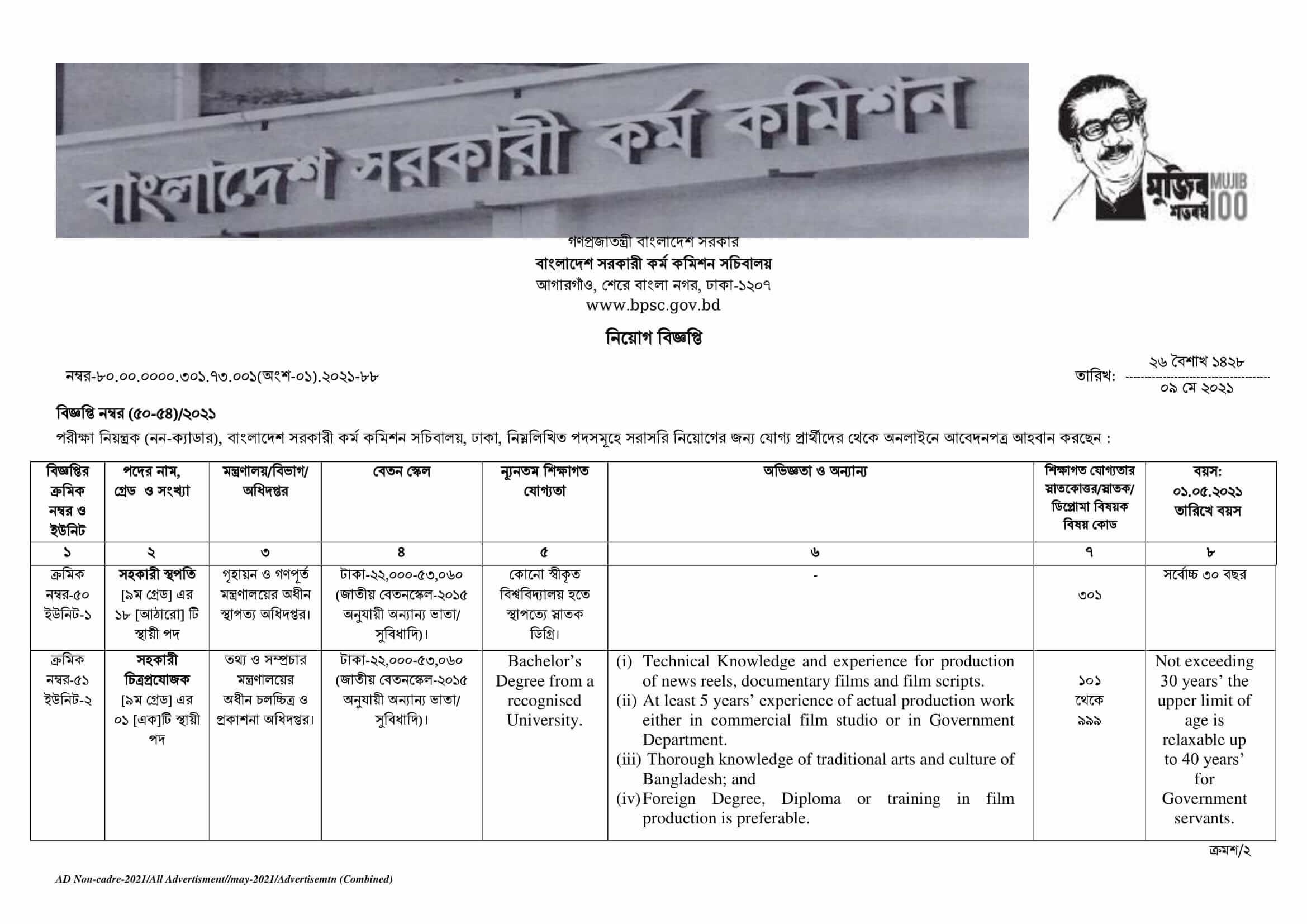 BPSC Non Cadre Job Circular May 2021