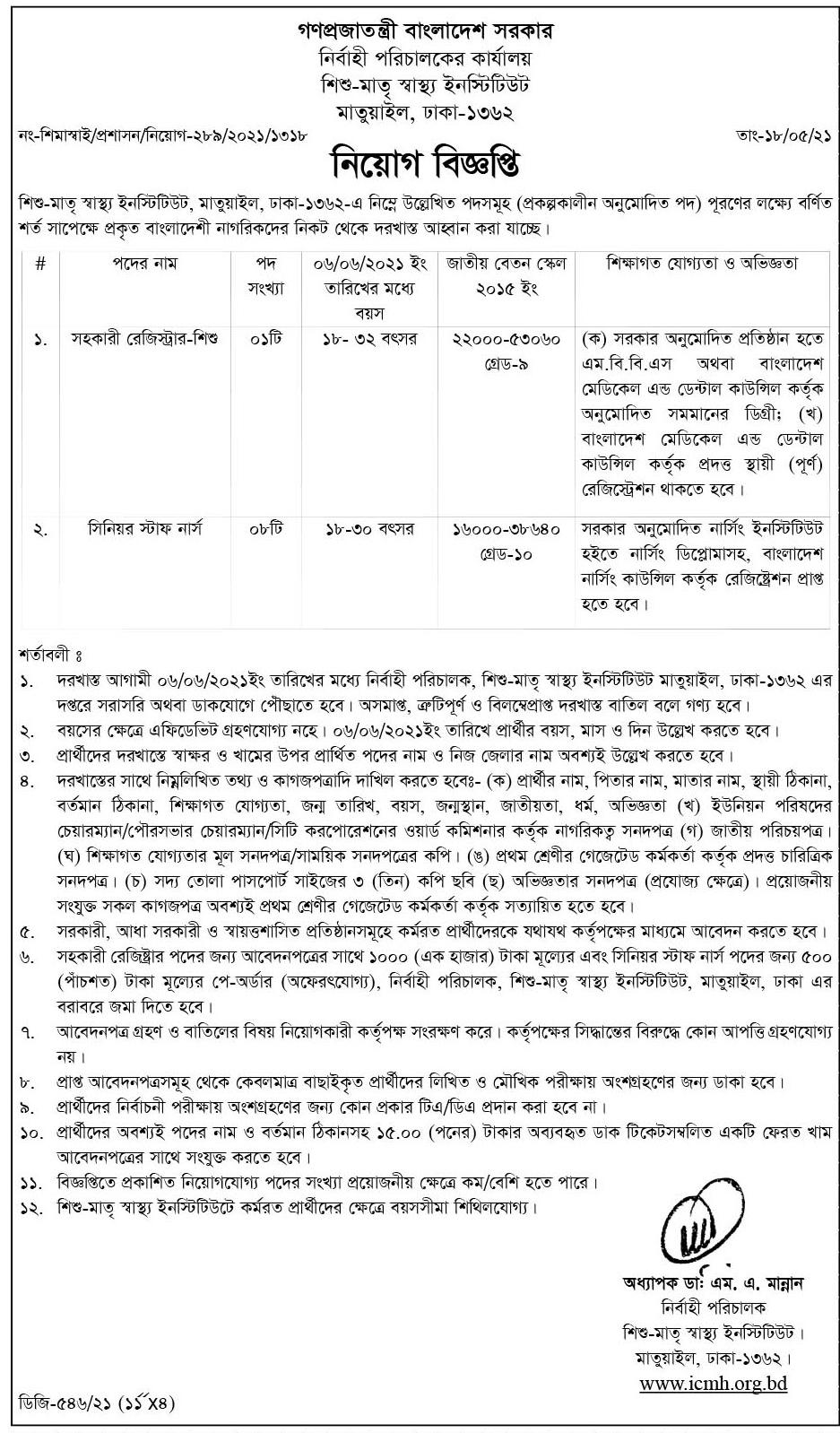 Institute of Child and Mother Health Job Circular 2021