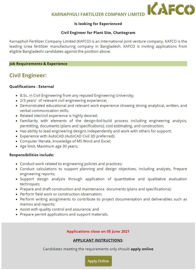 Karnaphuli Fertilizer Company KAFCO Job Circular 2021