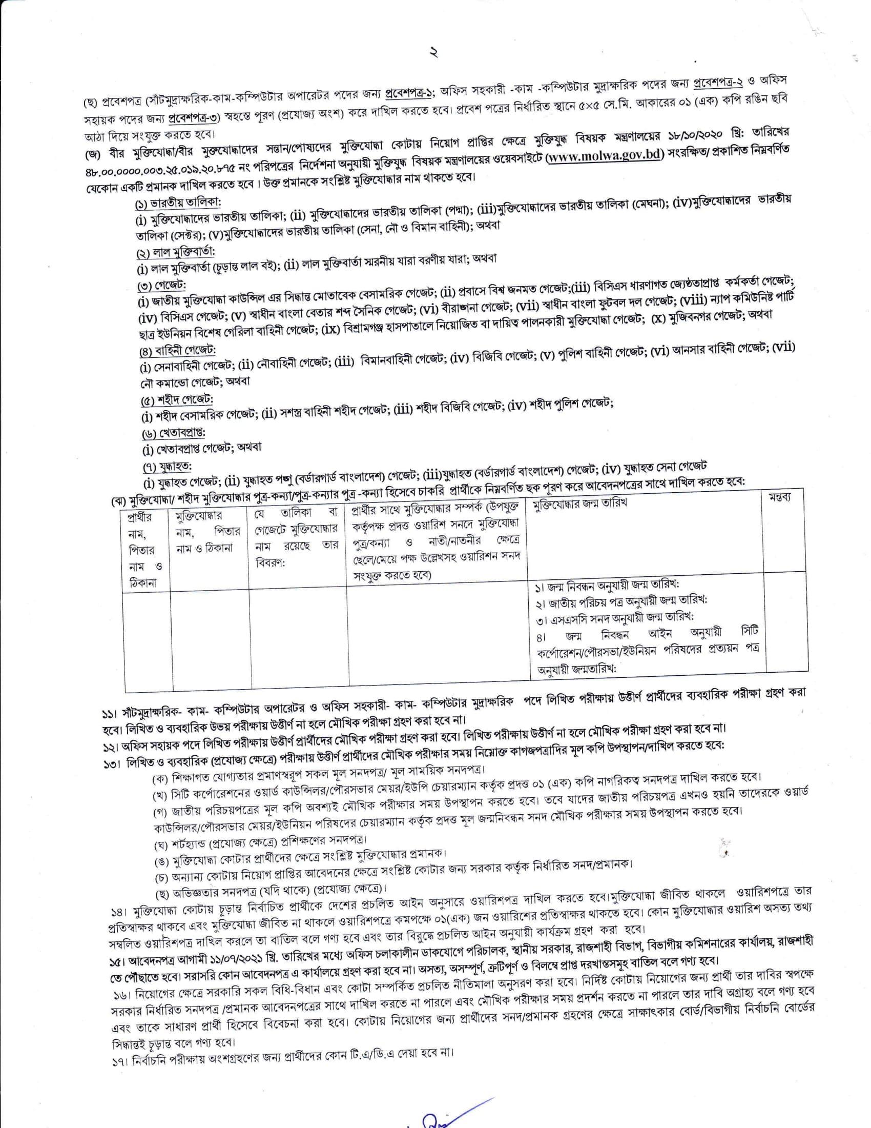 Rajshahi Division Job Circular 2021 - www.rajshahidiv.gov.bd