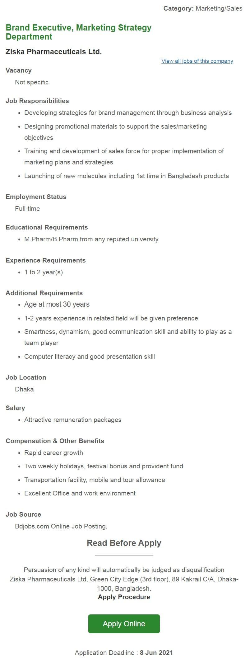 Ziska Pharmaceuticals Job Circular