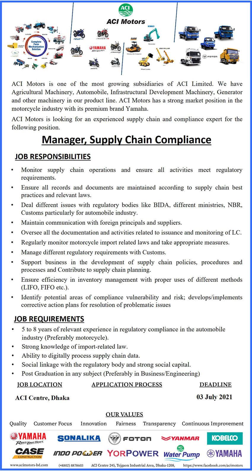 ACI Motors Limited Job Circular 2021
