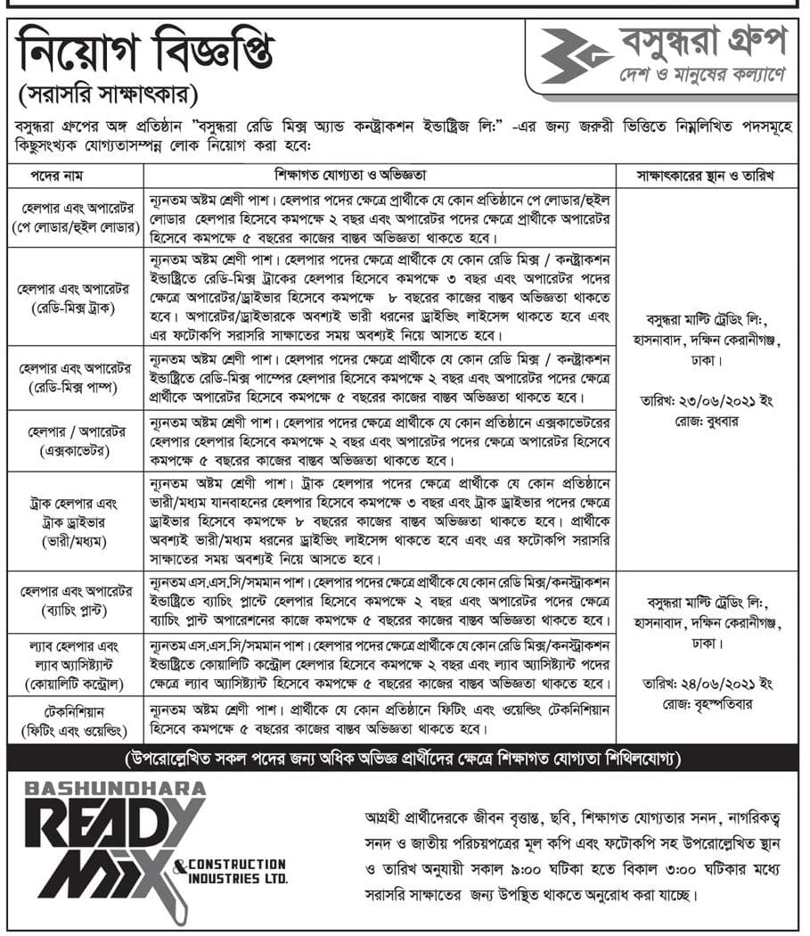 Bashundhara Job Circular