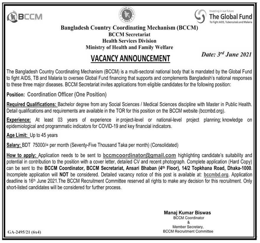 Bangladesh Country Coordination Mechanism BCCM Job Circular 2021
