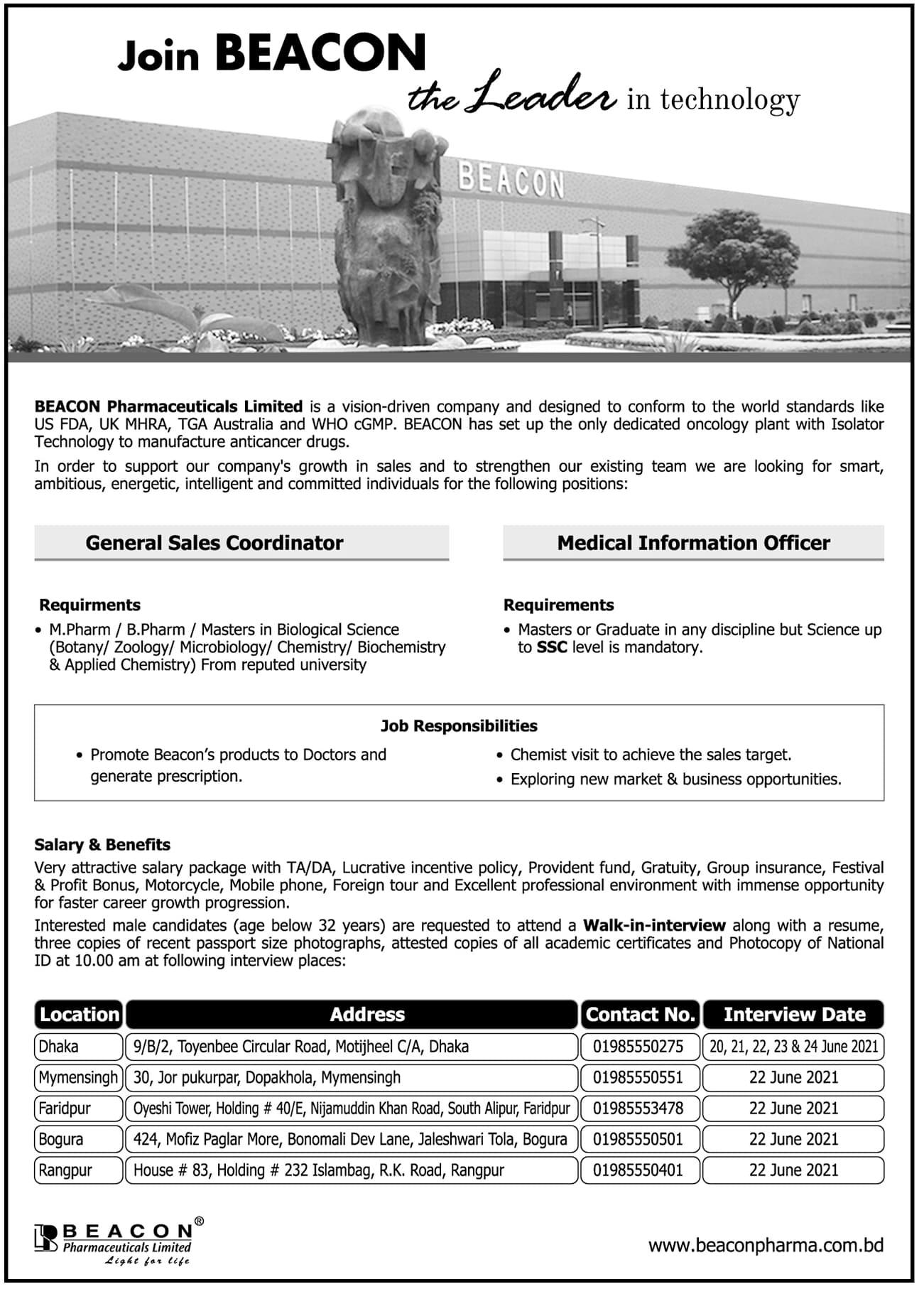 Beacon Pharmaceuticals Job Circular 2021