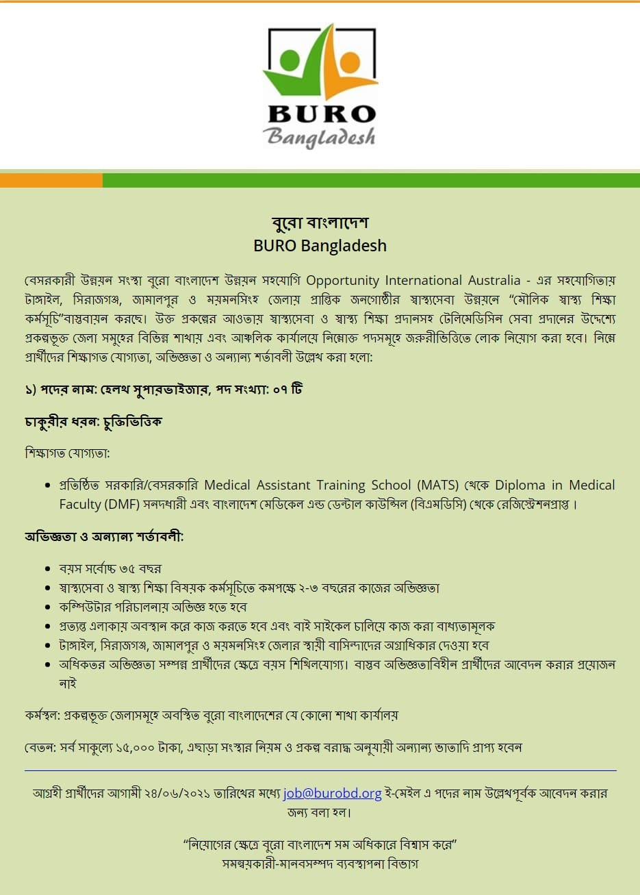 bangladesh BURO Job Circular