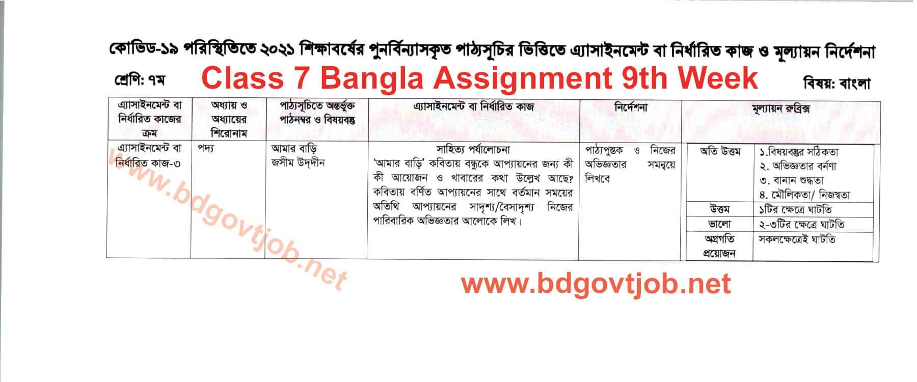 9th week Class 7 Assignment Bangla