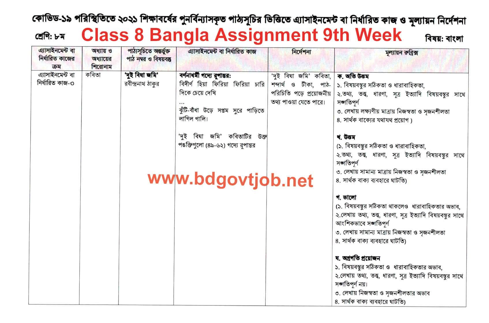 Class 8 Assignment Bangla 9th week