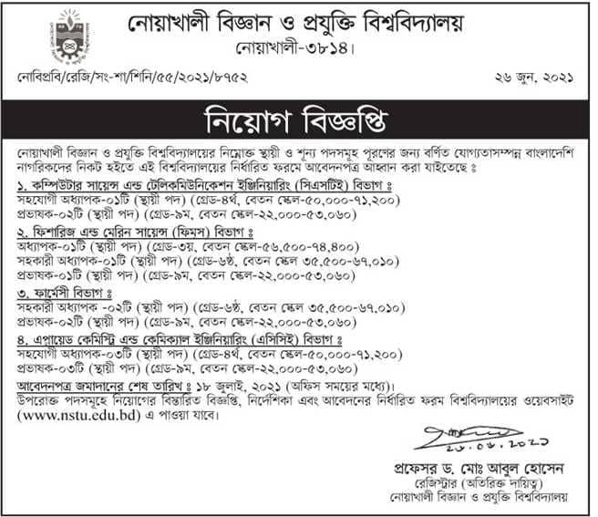 NSTU Job Circular 2021