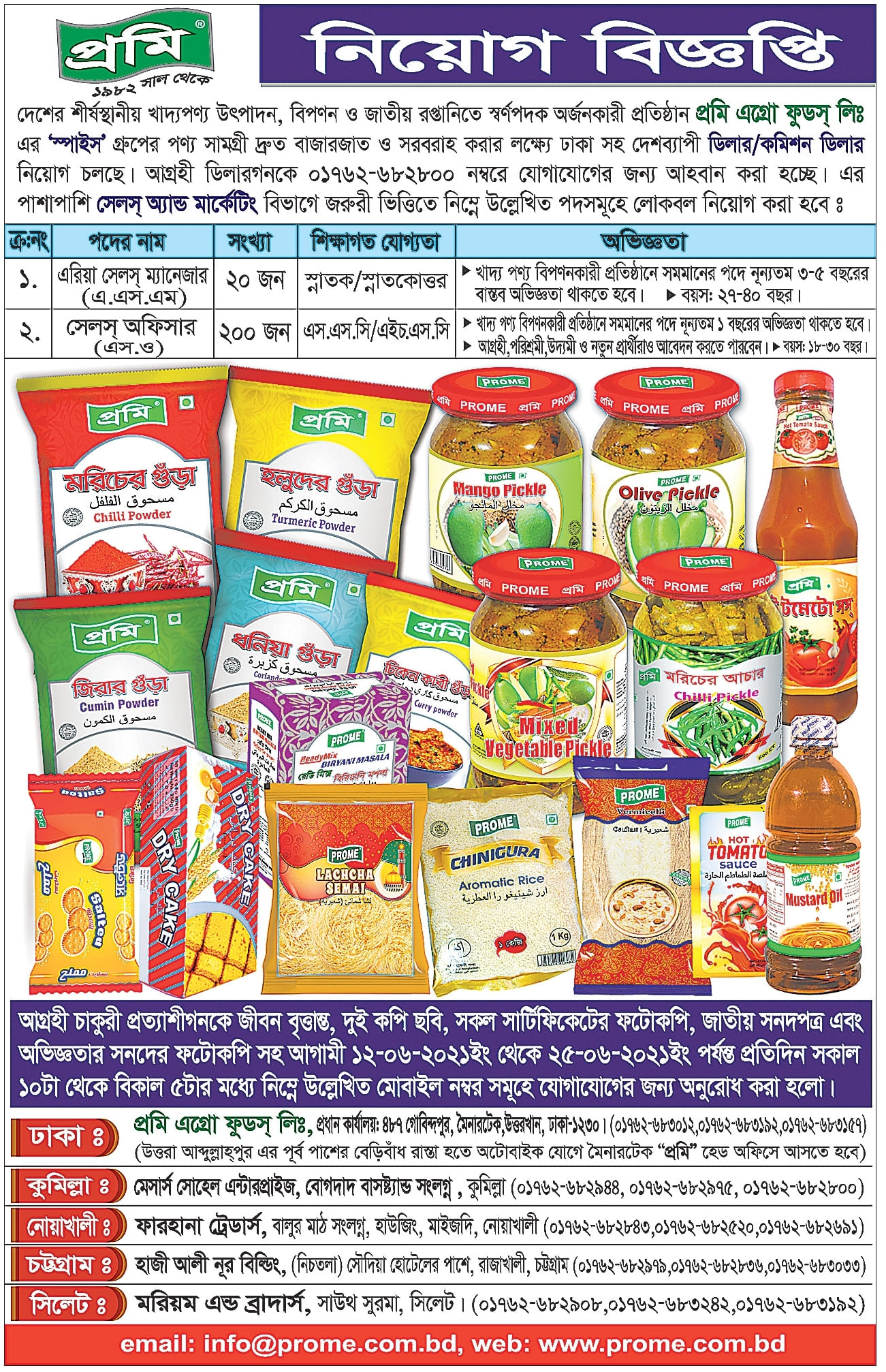 Prome Agro Food Job Circular