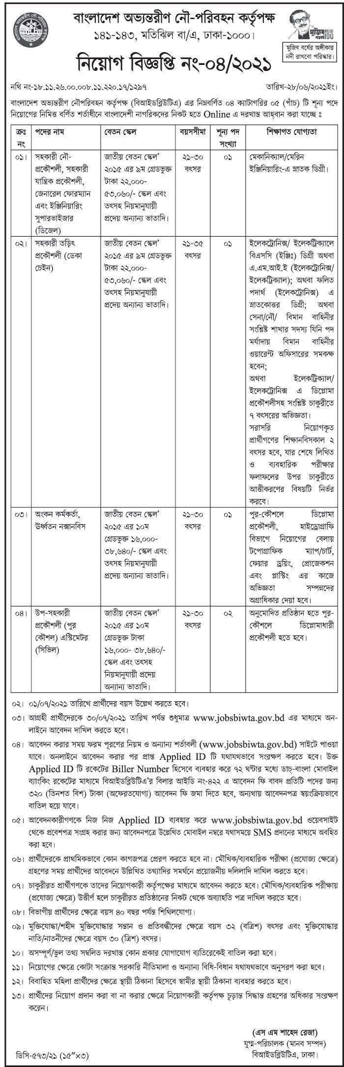 BIWTA Job Circular 2021