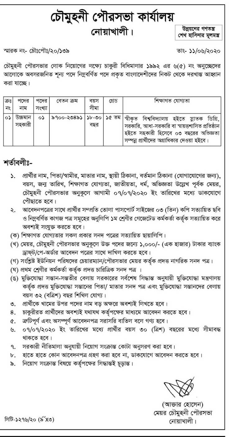 Municipility job circular