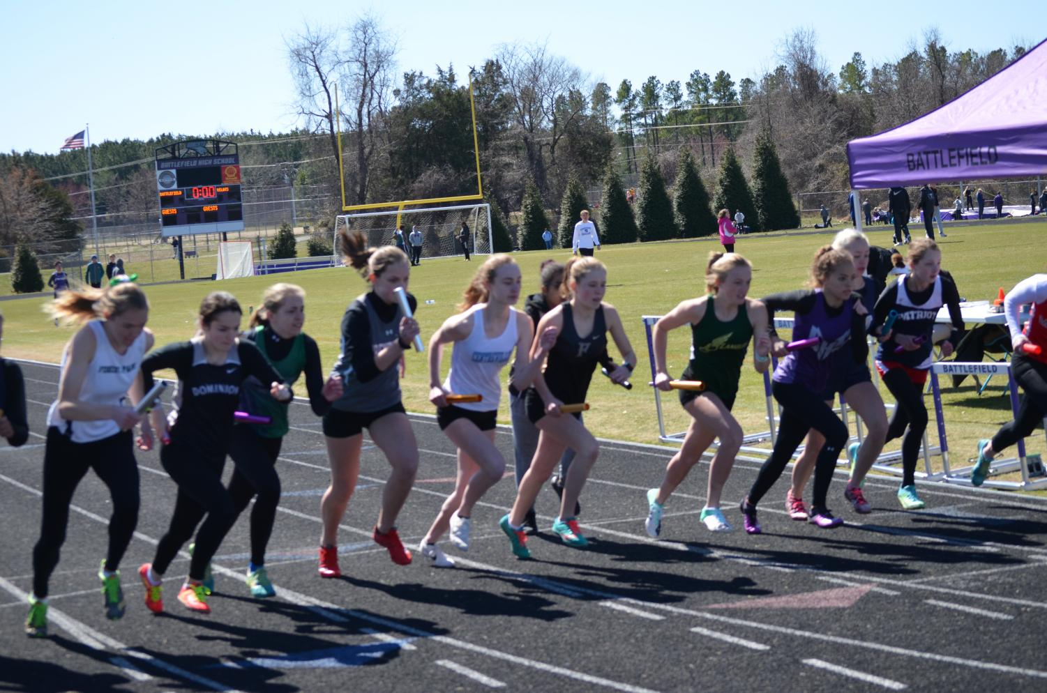 The start of the Distance Medley Relay (DMR).