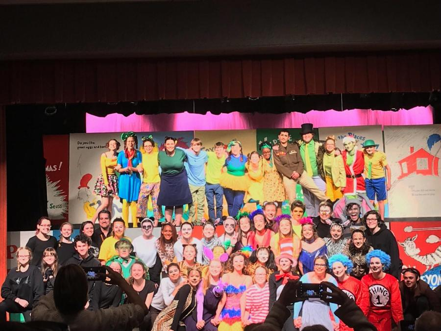 The+Seussical+cast+poses+for+an+ensemble+photo+after+their+opening+night+performance.+The+show+closed+March+30th%2C+2019.