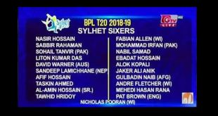 Sylhet Sixers Player List, Match Schedule, Ticket BPL
