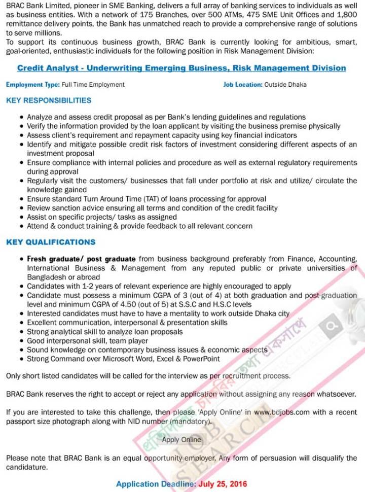 Brac Bank Ltd Job Circular 2016