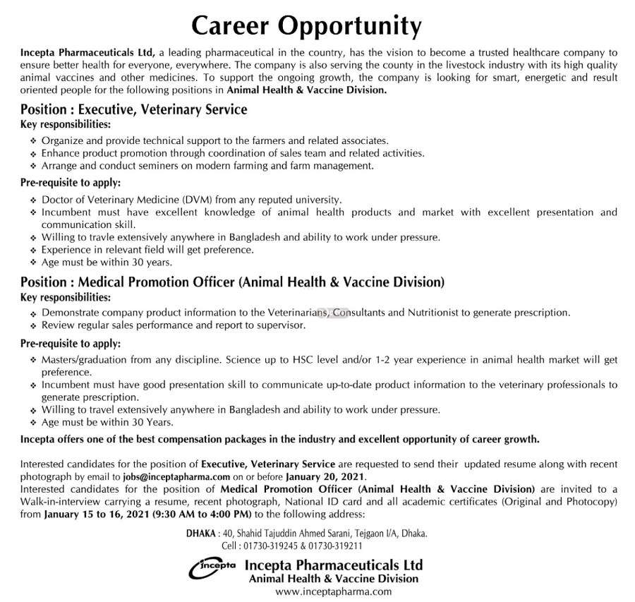 Incepta Pharmaceuticals Limited Job Circular January 2021