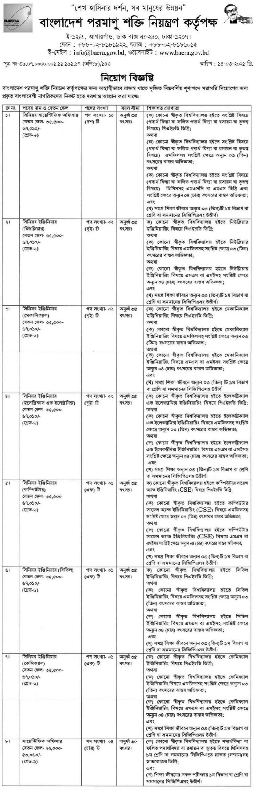 Bangladesh Atomic Energy Commission Job Circular April 2021