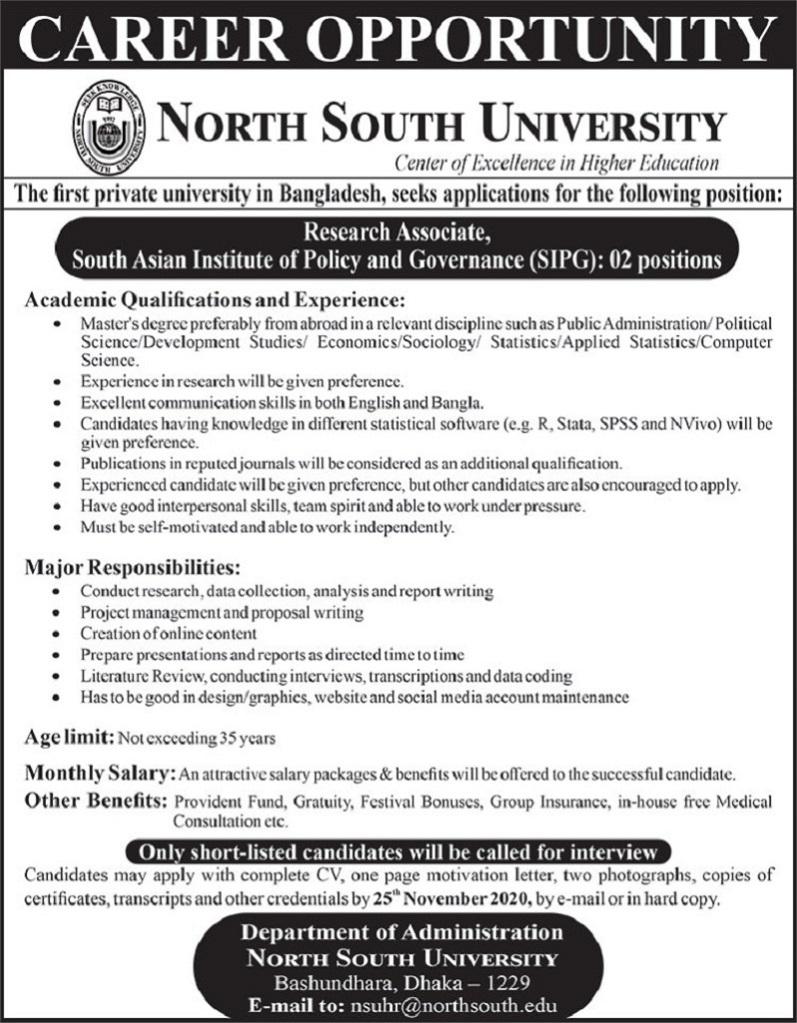 North South University Job Circular 24 November 2020