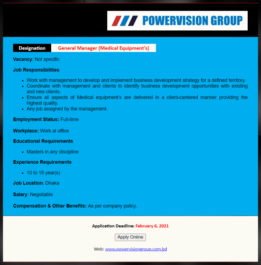 Powervision Group Job Circular February 2021