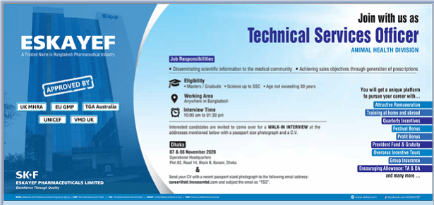 eskayef pharmaceuticals job circular 08 November 2020
