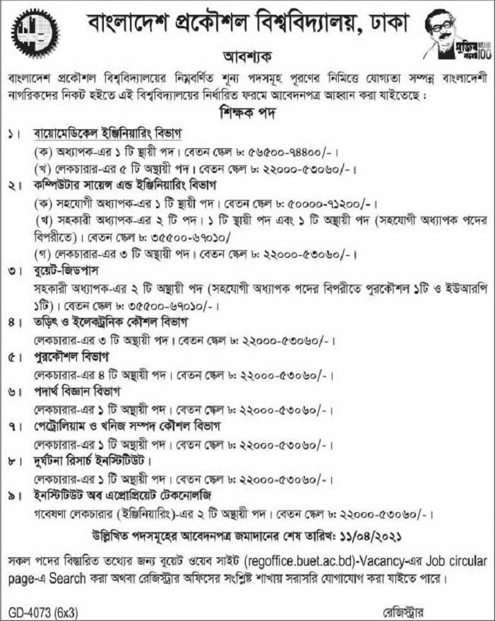 Bangladesh University of Engineering and Technology (BUET) Job Circular May 2021