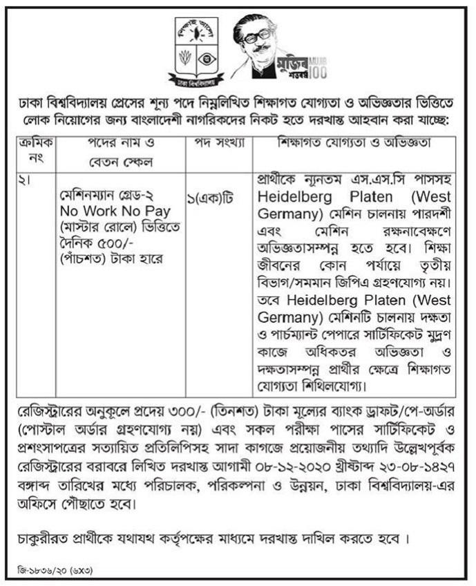 Dhaka University Job Circular 08 December 2020