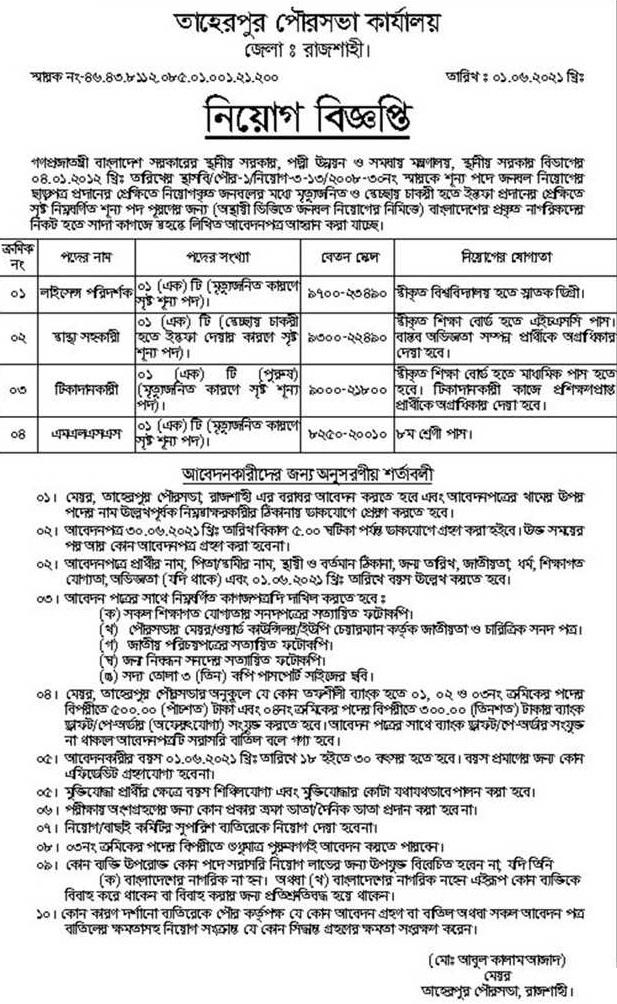 Municipality Job Circular June 2021
