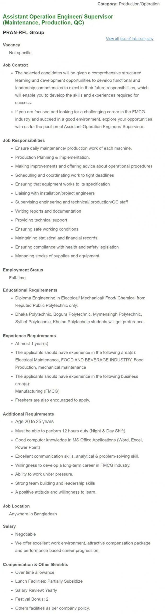PRAN-RFL Group Job Circular April 2021