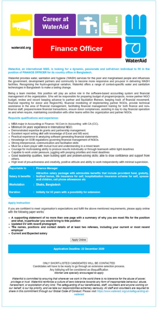 WaterAid Bangladesh Job Circular December 2020