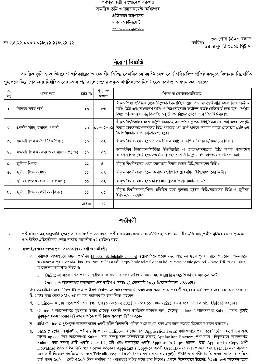 Ministry of Defence Job Circular February 2021