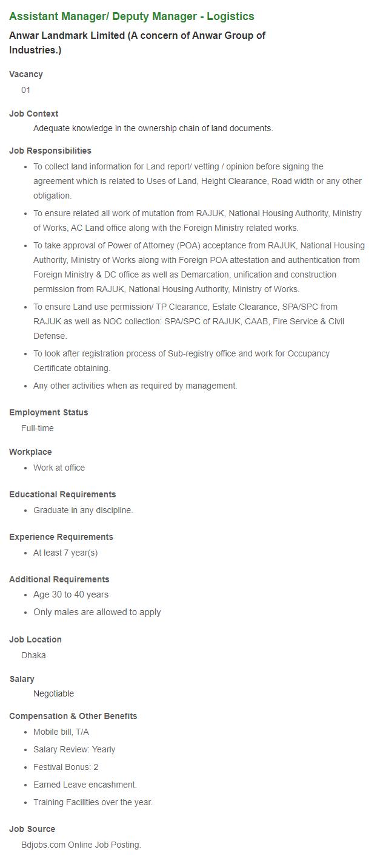 Anwar Group of Industries Job Circular June 2021
