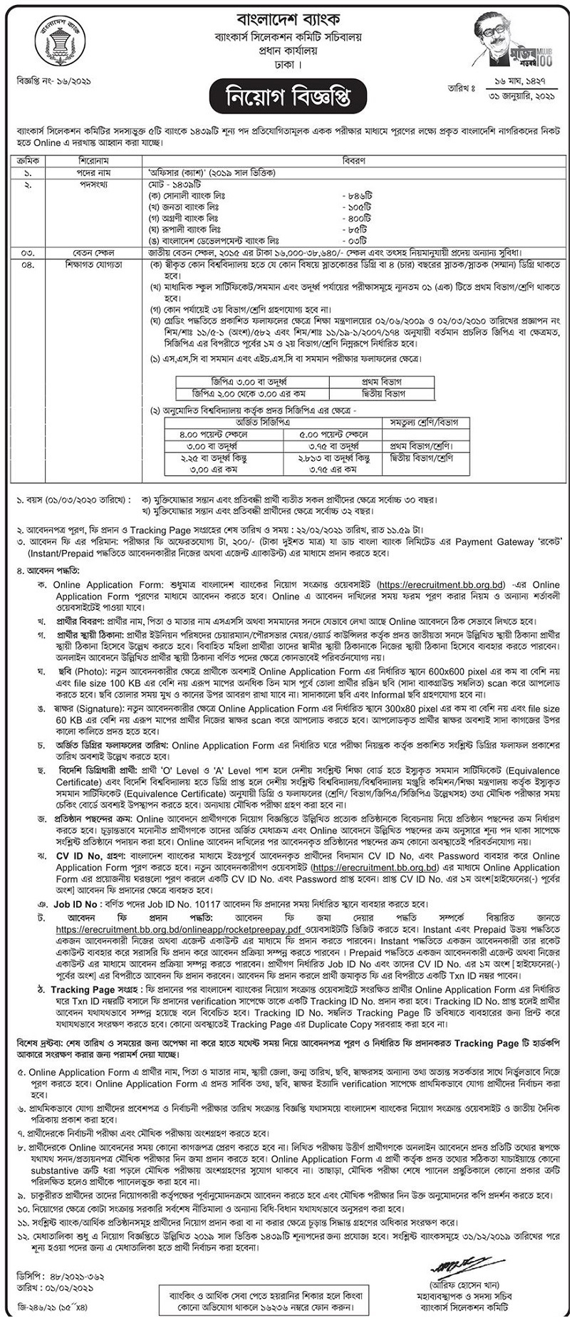 Sonali Bank Limited Job Circular 22 February 2021