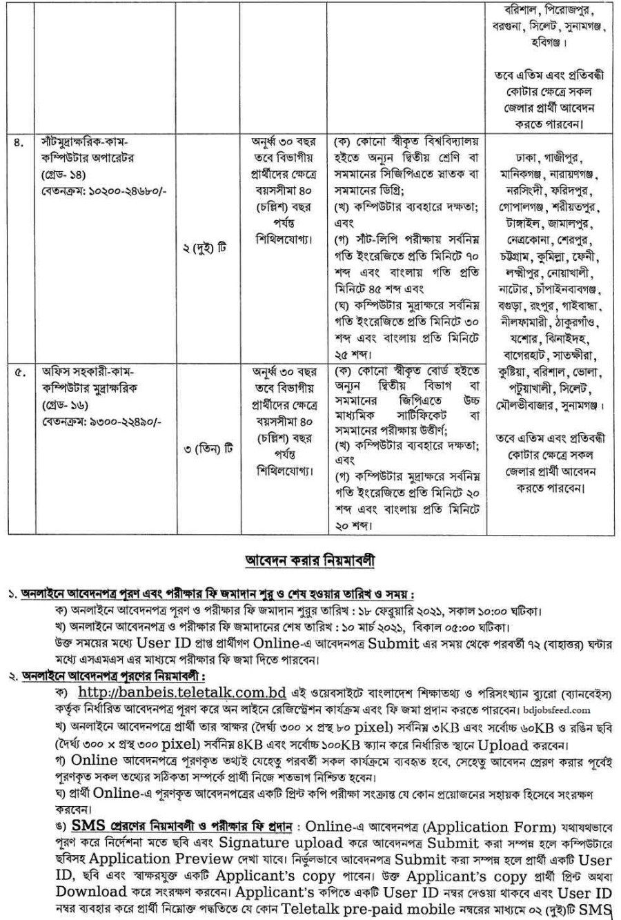 BANBEIS Official Job Circular 10 March 2021 Image