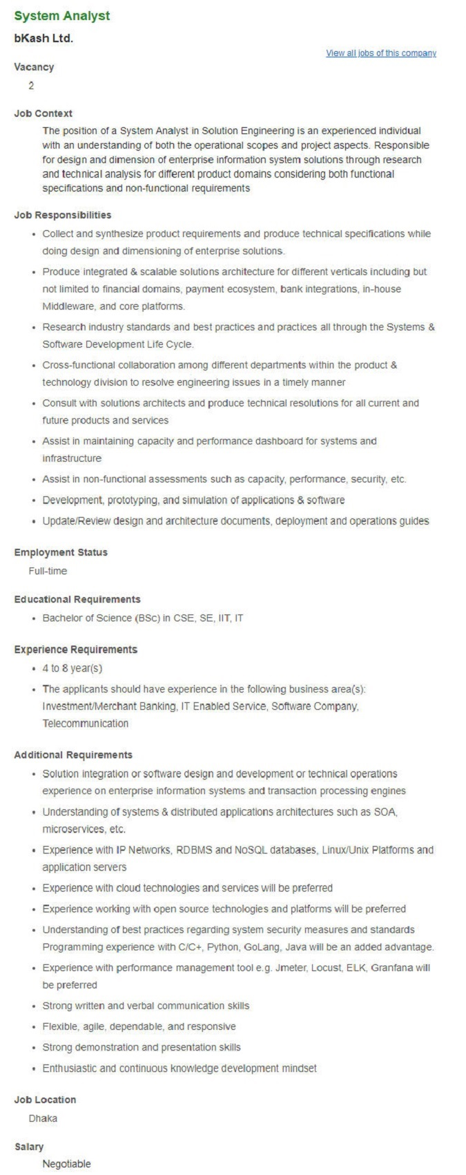 Bkash Limited Job Circular April 2021