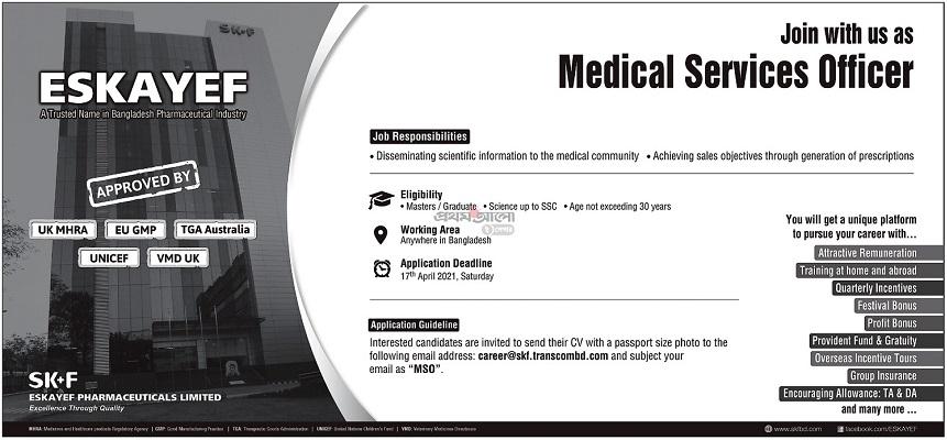 Eskayef Pharmaceuticals Job Circular April 2021