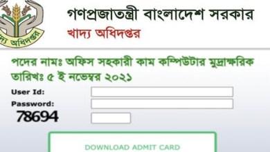 DGFOOD Admit Card Download